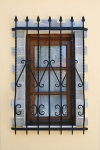 Ornate domestic window bars