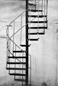 Simple metal spiral staircase
