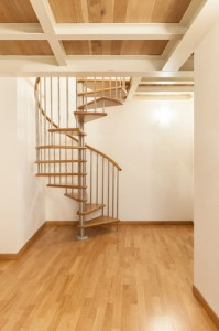 Wood and Stainless Steel Spiral Staircase