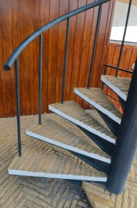 Wooden tread spiral staircase